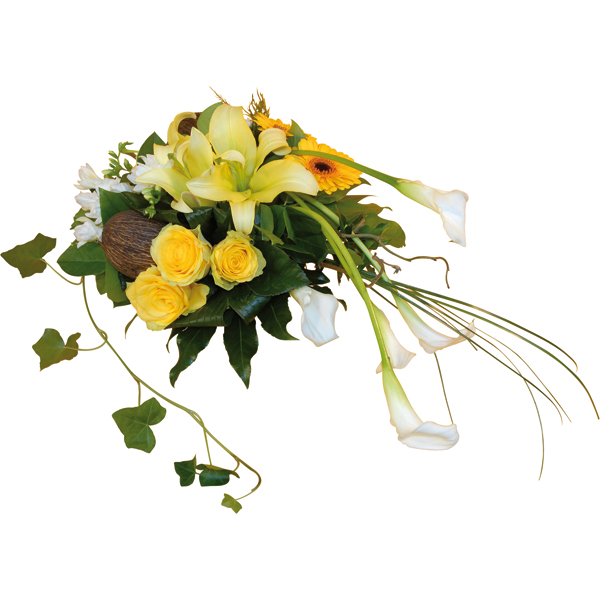 Composition de fleurs citrine