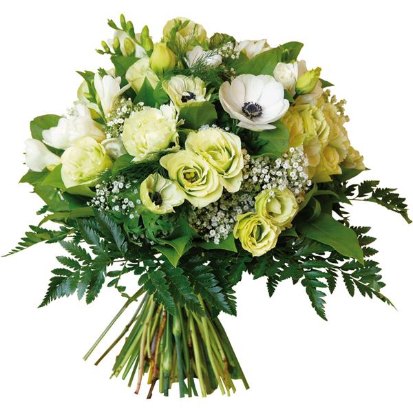 Bouquet Rond Blanc Et Vert Noel Livraison Bouquet De Fleurs