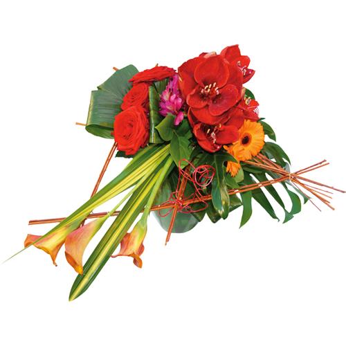 Bouquet original rouge orang avec roses et amaryllis for Livraison fleurs paypal