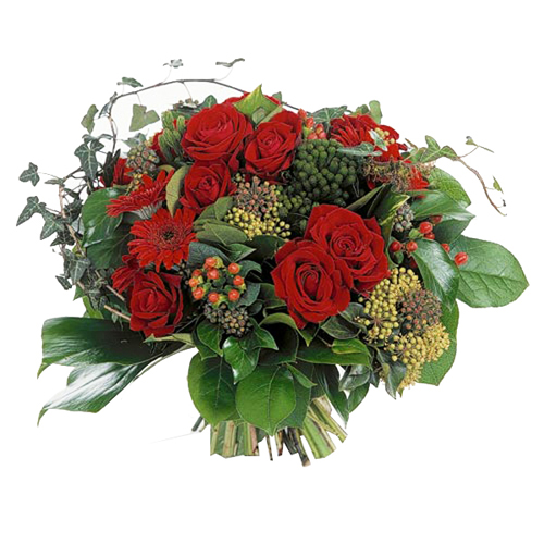 Bouquet roses rouges et gerberas
