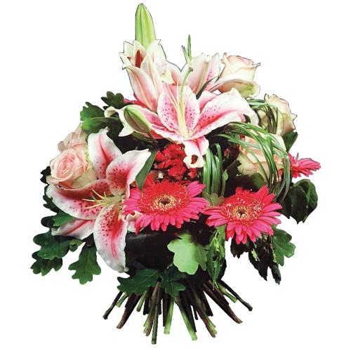 livraison bouquet fleurs de saison rose et blanc pour naissance rosaria entrefleuristes. Black Bedroom Furniture Sets. Home Design Ideas