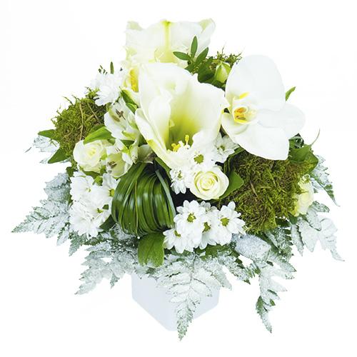 Bouquet Rond De Fleurs Blanches Avec Rose Orchidee Amarylis Et