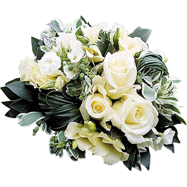 ch rie bouquet rond deuil d 39 un blanc tr s pur avec roses freesias lysianthus stephanotis. Black Bedroom Furniture Sets. Home Design Ideas