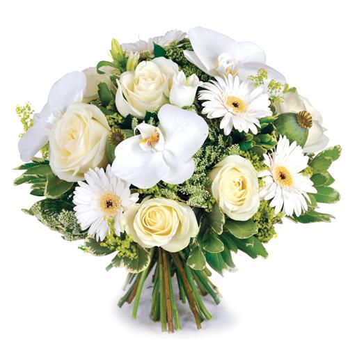 Le célèbre Rêve blanc: bouquet de fleurs raffinées pour deuil composé de #XC_74