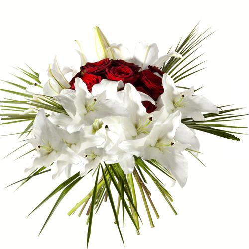 nid d 39 amour bouquet rond compos au centre de roses rouges entour es de lys blancs top 10 de. Black Bedroom Furniture Sets. Home Design Ideas