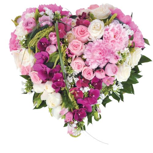 Les coeurs fleurs deuil - Bouquet de fleur en coeur ...