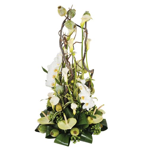 l 39 instant composition fleurs deuil moderne blanche avec. Black Bedroom Furniture Sets. Home Design Ideas