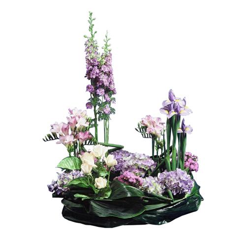 composition fleurs deuil paradis mauve et blanc girofl es iris mauves hortensia. Black Bedroom Furniture Sets. Home Design Ideas