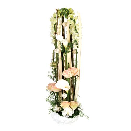 Composition Fleurs Mariage Poesie Blanc Et Peche Roses Blanches