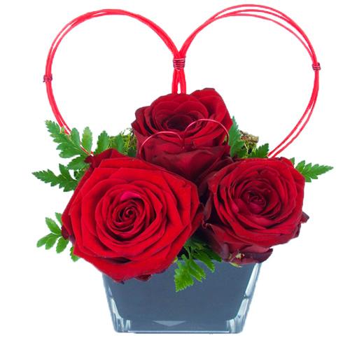 livraison roses rouges, composition st valentin avec roses rouges