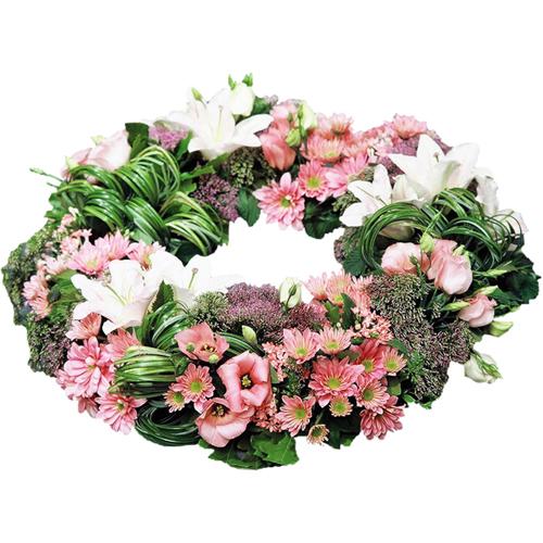 Les couronnes fleurs deuil de qualit extra pastel ou - Fleuriste couronne de fleurs ...