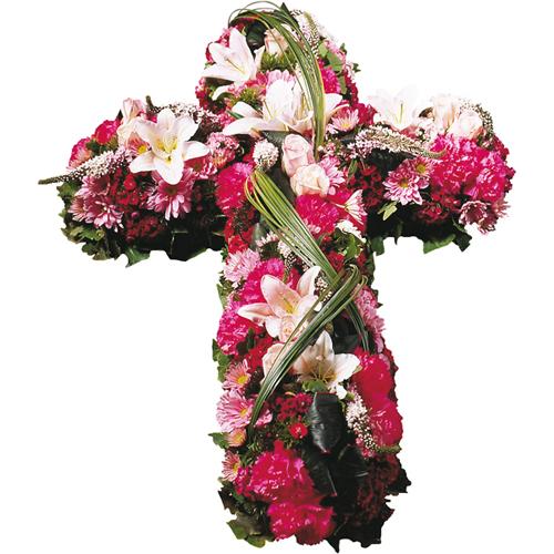 Croix fleurs deuil dans les tons rouge rose et blanc ros for Livraison fleurs paypal