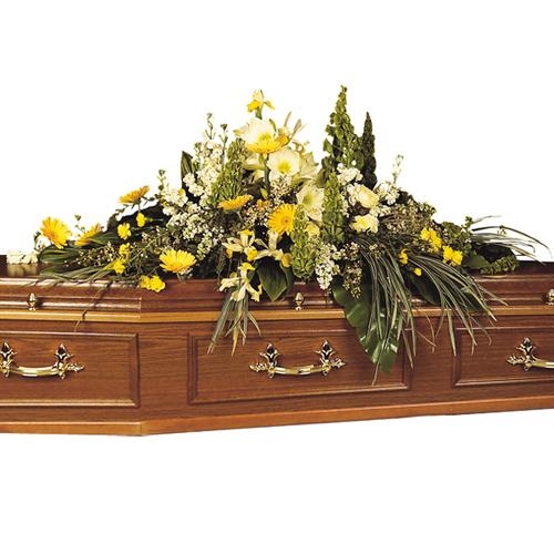 Dessus de cercueil fleur deuil dans les tons jaune blanc for Livraison fleurs paypal