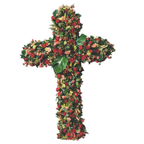 Les cieux croix en fleurs deuil dominance rouge pour un for Livraison fleurs paypal