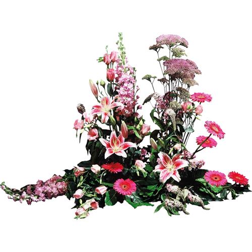 Eternit raquette fleurs deuil dans les tons rose pour for Livraison fleurs paypal