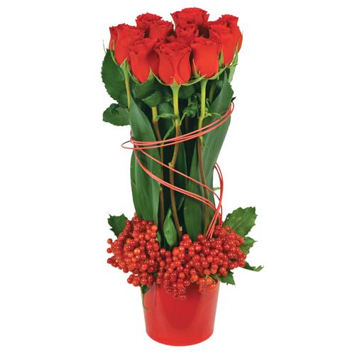 Composition florale avec des roses for Livrer des roses