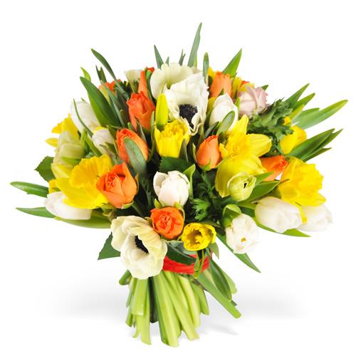Livraison fleurs de saisons tulipes an mones renoncules for Bouquet de fleurs orange et jaune