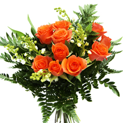 Bouquet de roses orange et muguet de qualité extra