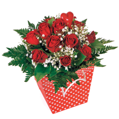 Bouquet rond de roses rouges St Valentin